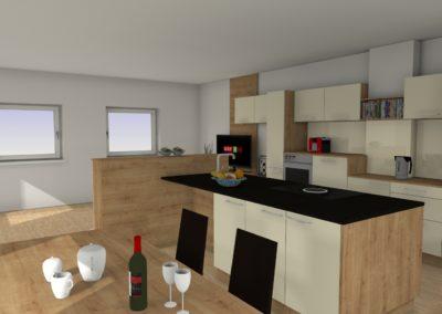 Formschöne Küche mit Insel, Magnolie & Holz