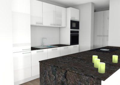 Küche in hochglanz Weiß mit großzügiger Insel