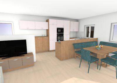 Kompletter Wohnraum mit integrierte Küche