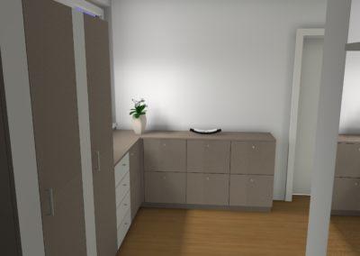 Moderne Garderobenplanung in Schlamm mit Weiß