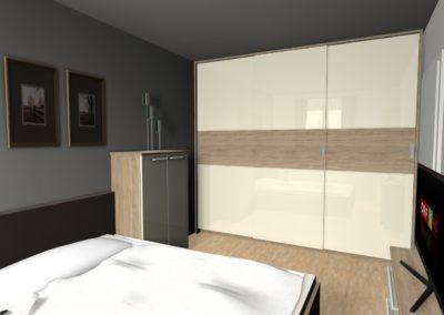 Schlafzimmer mit großzügigem Schwebetürenschrank