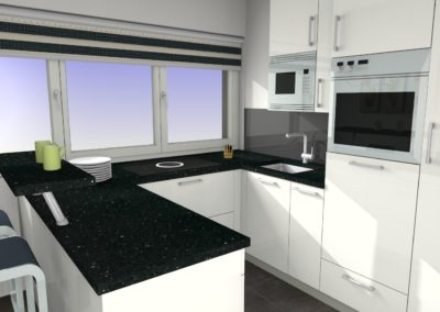 Schlichte Küche in weiß mit Sitzplatz