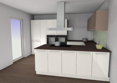Wohnküche in hochglanz weiß mit cappuccino