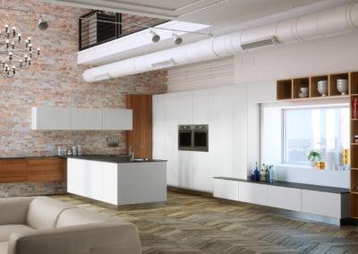 Küche und Wohnbereich kombiniert