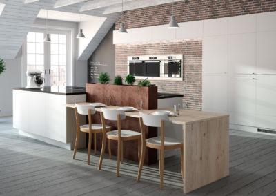 Raffinierte Küchen und Sitzplatzlösung