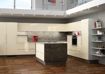 Weiße hochglanz Küche toll inszeniert