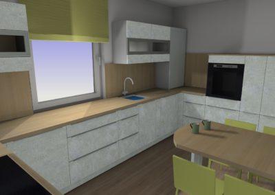 Küche in Betonoptik mit Arbeitsplatte in Holzoptik