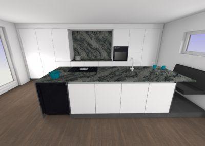 Küche in Glaslaminat matt grifflos und Granit-Arbeitsplatte und Insel mit Sitzgelegenheit