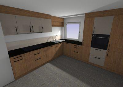 Küche in Risseiche geölt mit Arbeitsplatte 2 cm in Steinoptik