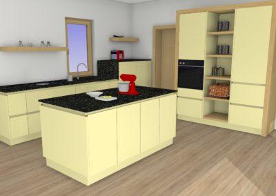 Küche in matter Ausführung, Elementen aus massiver Eiche und Granit-Arbeitsplatte