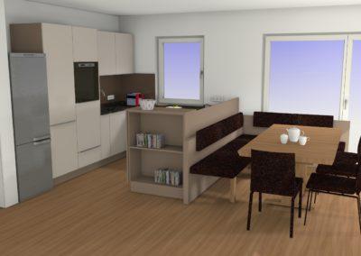 Küche in matter Ausführung mit Granit-Arbeitsplatte