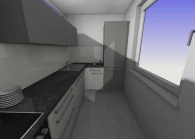 Küche in matter Ausführung weiß und grau mit Arbeitplatte in Steinoptik
