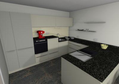 Küche in matter Ausführung weiß und grau mit Granit-Arbeitsplatte