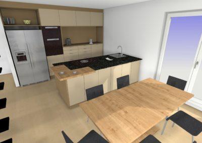 Küche mit Glaslaminat-Fronten und Granit-Arbeitsplatte