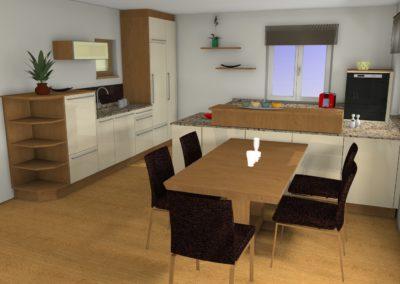 Küche mit Glaslaminat-Fronten und Granit-Arbeitsplatte und Holzelementen