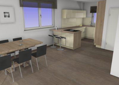 Küche mit Glaslaminat-Fronten und Silestone Arbeitsplatte
