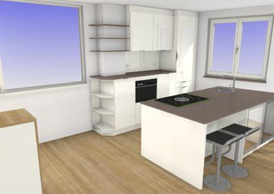 Küche mit Hochglanz-Fronten und Silestone Arbeitsplatte mit Sitzgelegenheit