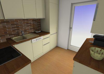 Küche mit Hochglanzfronten und Arbeitplatte in Holzoptik. Rückwand in Steinoptik