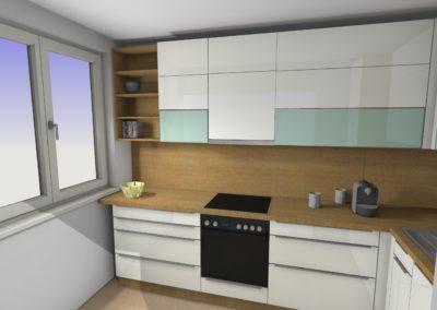 Küche mit Hochglanzfronten und Arbeitsplatte mit Holzoptik