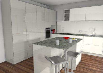 Küche mit Hochglanzfronten und Granit-Arbeitsplatte