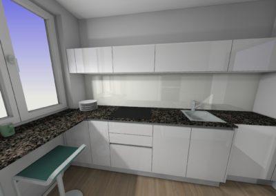 Küche mit Hochglanzfronten und Granit-Arbeitsplatte mit Sitzgelegenheit