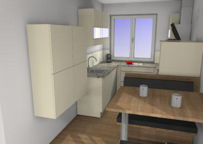 Küche mit Hochglanzfronten und Granit-Arbeitsplatte und Sitzgelegenheit