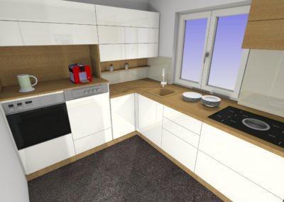 Küche mit Hochlanzfronten grifflos und Arbeitsplatte in Holzoptik