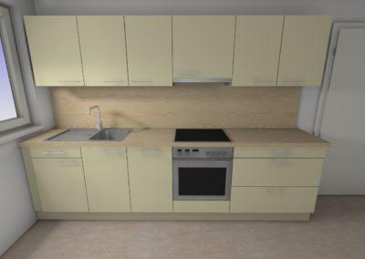Küchenzeile in matter Ausführung mit Arbeitplatte mit Holzoptik