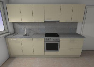 Küchenzeile in matter Ausführung mit Arbeitplatte mit Steinoptik